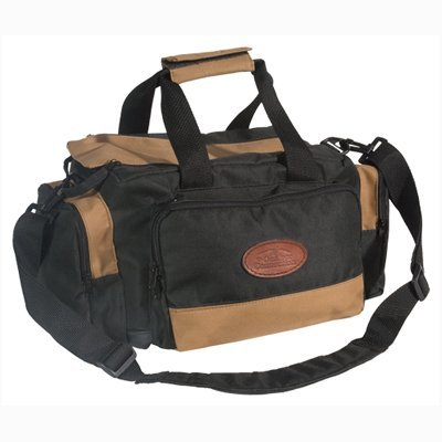 Range Bag Deluxe Tan/Black Shoulder Strap Durable Leather Bottom Multiple Acc…