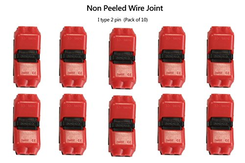 Alightings Quick Wire Splice Connectors Without Stripping the Wires Compatible with 24 – 20 AWG Cable for Some Tight-fitting Automotive Uses(pack of 10, I Type 2pin)