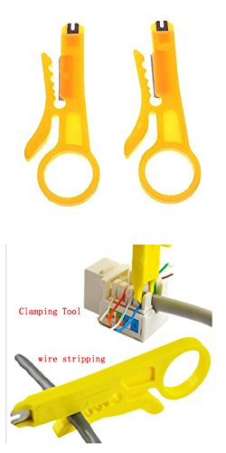 Universal Small and Exquisite (2IN1) Punch Down Cutter Stripper Tool a12022700ux0127 for RJ45 Cat5 Network Wire Cable,Data Telephone cable ,Computer UTP Cable (2-Pack,Wire stripping)
