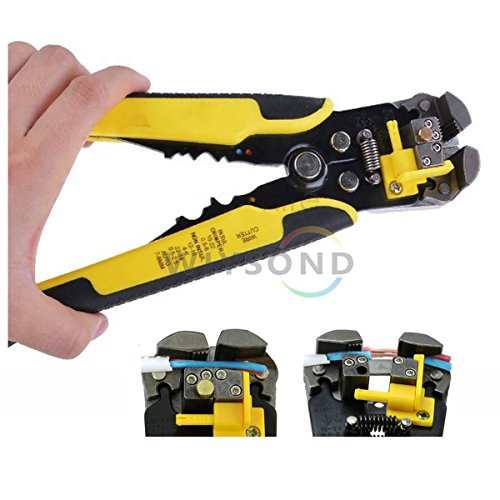 Wiysond Professional Automatic Wire Stripping Tool Self-adjusting Wire Cable Line Stripper Cutter Crimper Pliers Terminal Tool for Industry 10-24 AWG Stranded Wire Cutting
