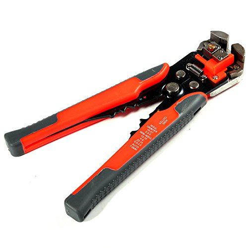 Omall (TM) AWG 10-24 Self-Adjusting 0.2-6mm Wire Stripper,Cutter and Crimper,8-Inch,Red