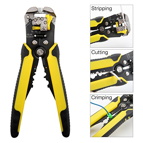 OYISIYI Self-Adjusting Wire Stripper, 8-Inch Wire Stripping Tool Automatic Electric Cable Stripper Cutter Crimper, Professional Multi-Purpose Terminal Tool Pliers for 10-24 AWG Stranded Wire Cutting
