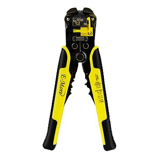 E-More Self-Adjusting Wire Stripper, 8-Inch Automatic Electric Cable Wire Stripping Cutter and Crimping Pliers Tool 10-24 AWG (Yellow)