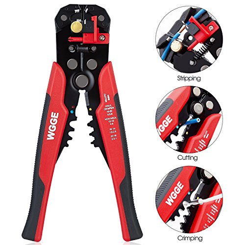 WGGE WG-014 Self-Adjusting Insulation Wire Stripper, For stripping wire from AWG 10-24,Automatic Strippers with Cutters & Crimper 8″