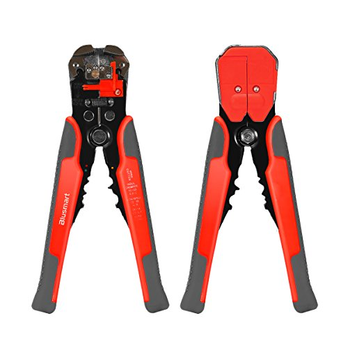 Wire Stripper, Blusmart Self-Adjusting Automatic Wire Stripping Tool with ProTouch Grips AWG24-10(0.2~6.0mm²) – Multi Tool Stripper, Cutter and Crimper (Orange with Gray)